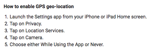 How to enable/disable geo-location on iPhone