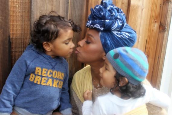 Malika with her kids