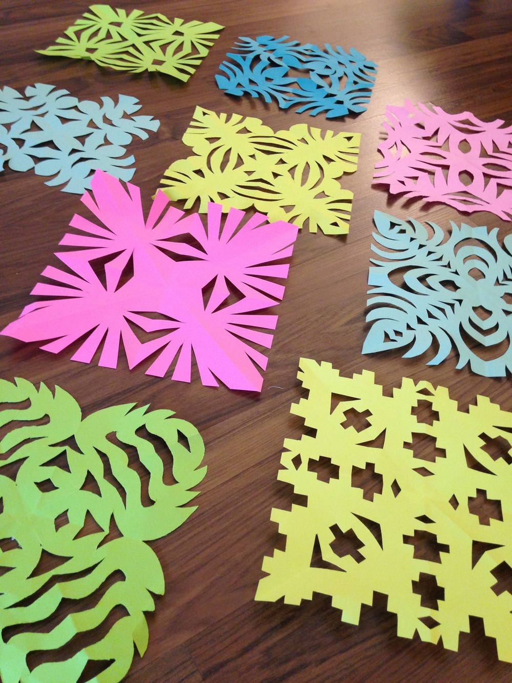 Most recently, the kids and I made snowflakes. These were a fun break from the computer and the sketchbooks and allowed for spontaneous, free expression.