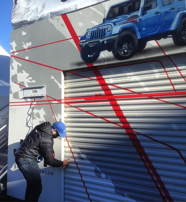 @intelism doing touch-ups last week in Aspen on the #jeep #chillzone expertly painted by @nicoberry54 & @brownbartbaby