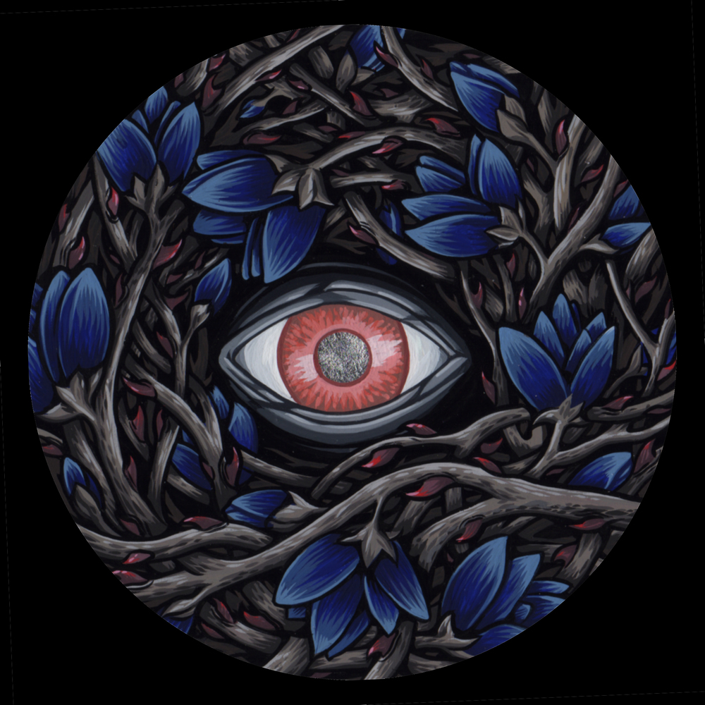 "Watcher in the Thorns for the two person show Certain Doom in 2013 with Alan Brown. Gouache on bristol 4"" round."