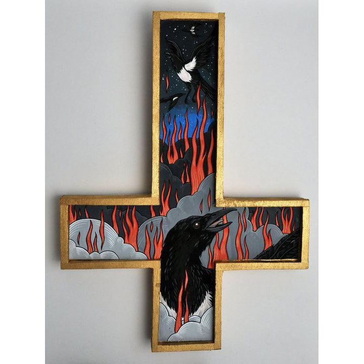 "Witches escape as Magpies for the solo show Unclean Spirits, 2012. Gouache on bristol mounted on wood 8"" X 5"""