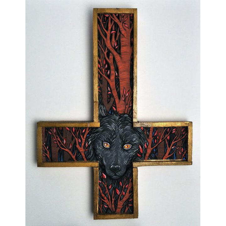 "The Wolf for the solo show Unclean Spirits, 2012. Gouache on bristol mounted on wood 8"" X 5"""