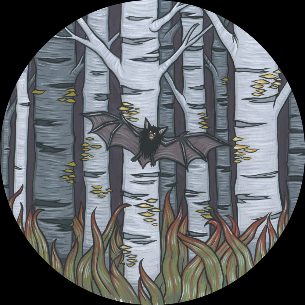 "The Forest for the solo show Unclean Spirits, 2012. Gouache on bristol 4"" round"
