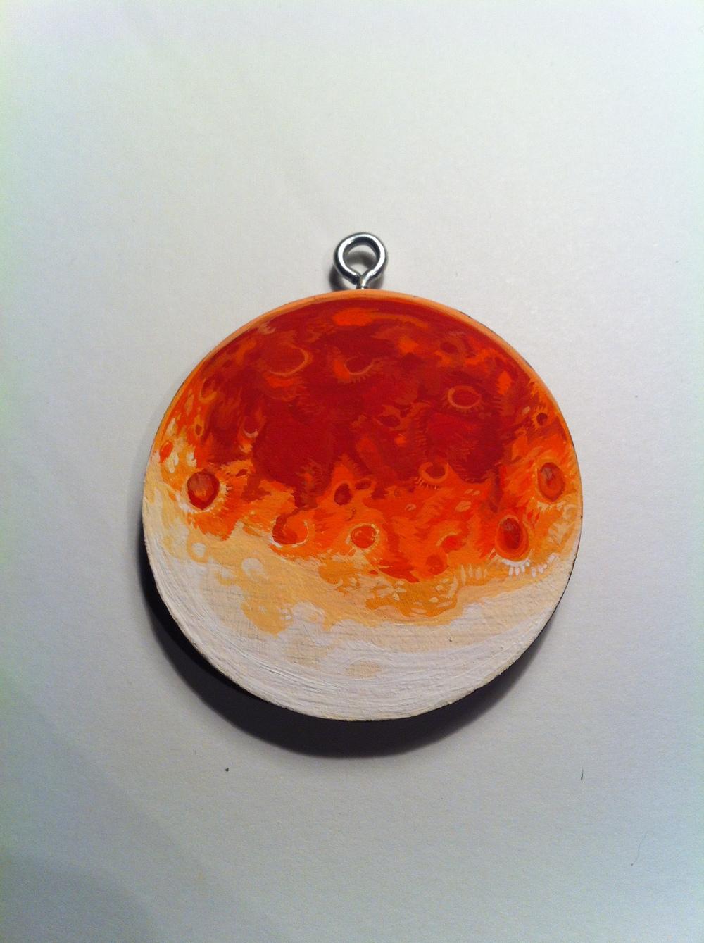 Handpainted lunar eclipse pendant