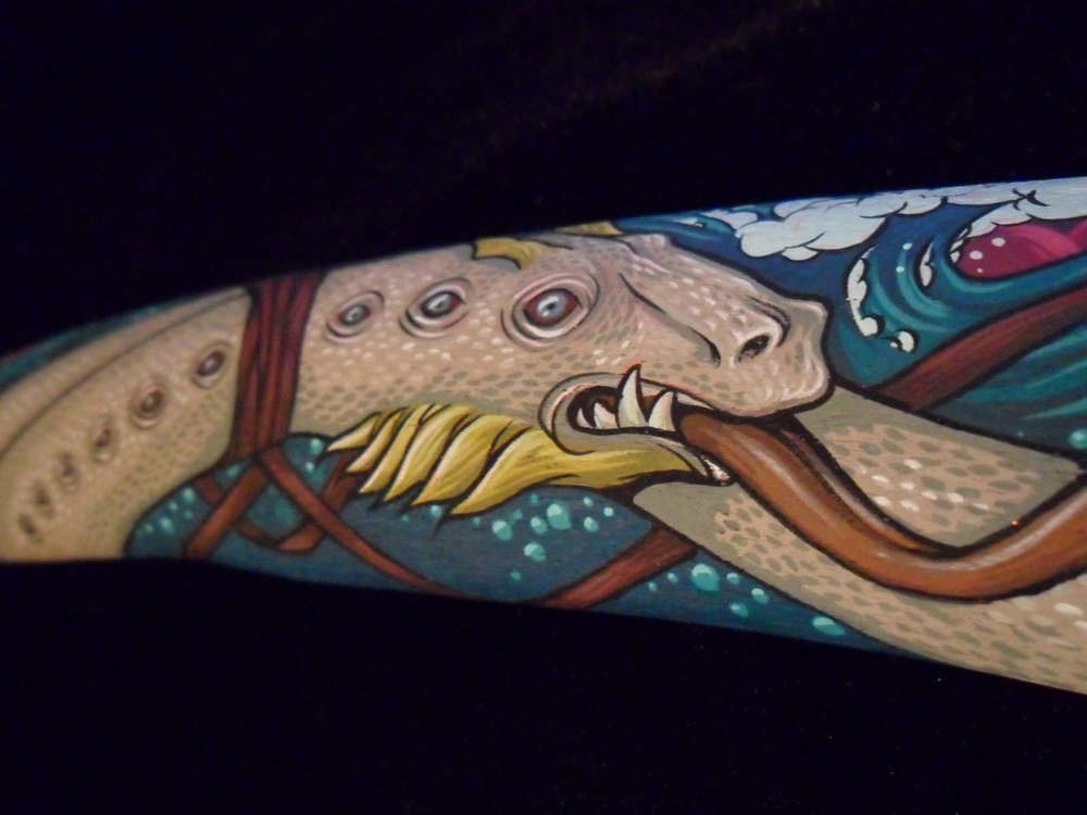 Sea Serpent painted on a found whale bone. For two person show Across the Haunted Sea with Michael Bukowski, 2011.