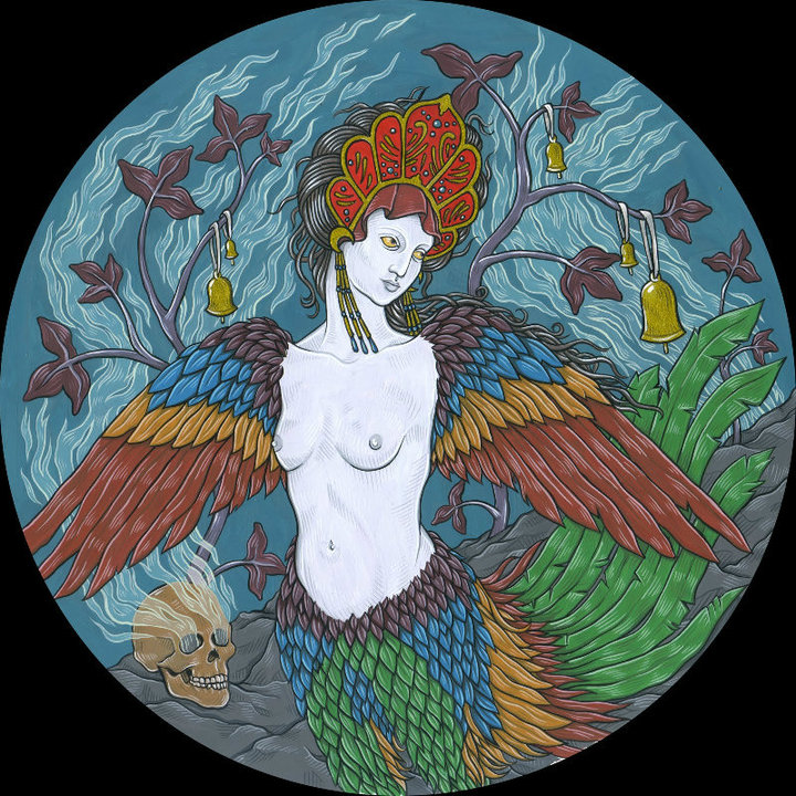 "Sirin for the solo show Unclean Spirits, 2012. Gouache on bristol 7"" round."
