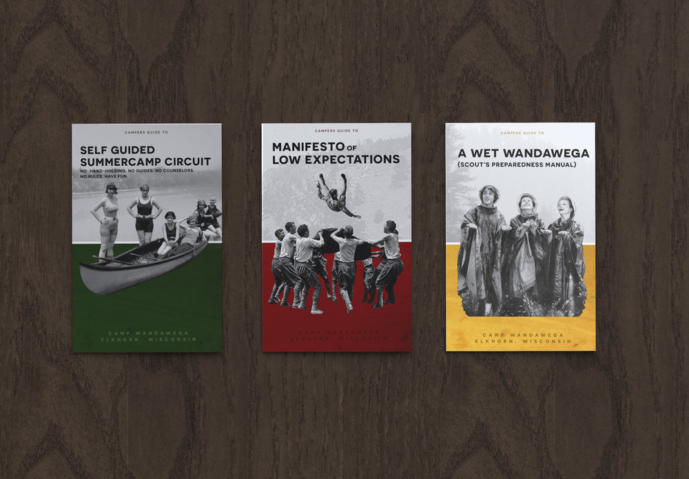 Inspired by vintage Boy Scout manuals, the series of campers' guides are meant to educate guests on the amenities of the camp while reinforcing those vintage summer camp vibes.