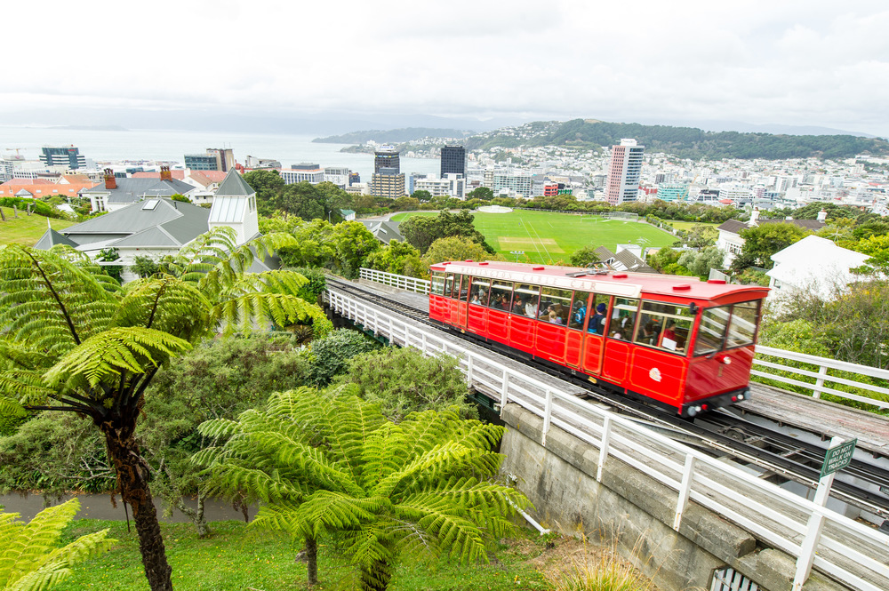 Wellington from the Kelburn Lookout, the final, topmost destination of the Wellington Cable Car.