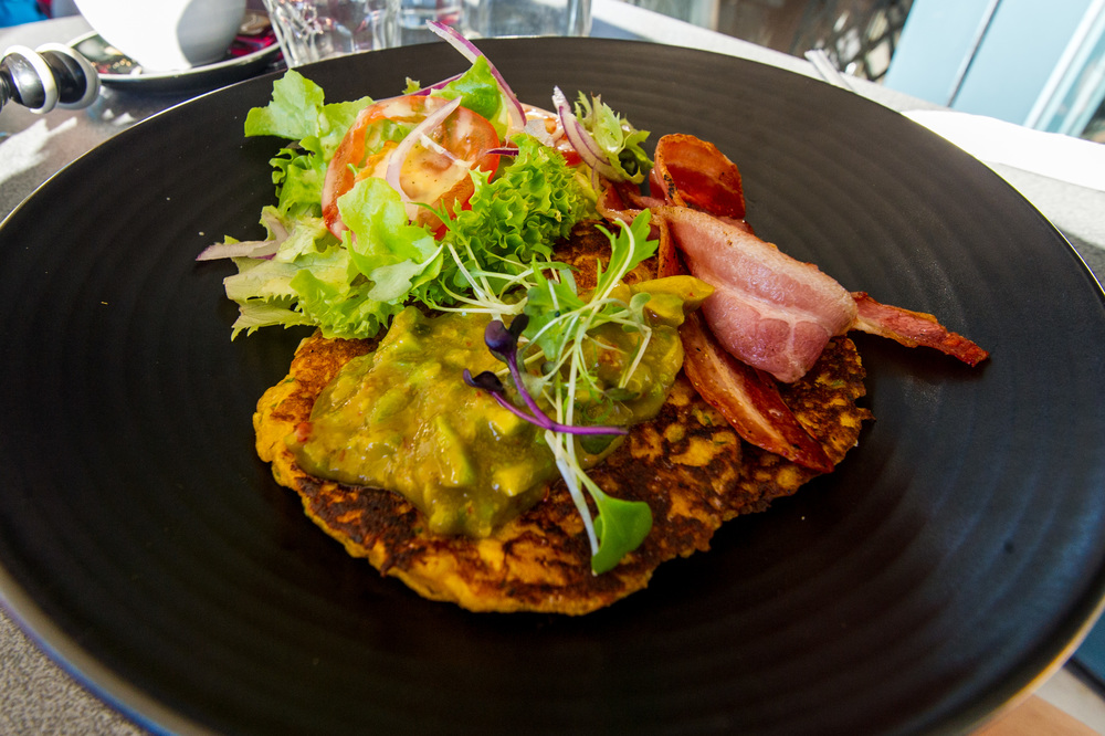 Sweet corn fritters at Oceanside Cafe on the Mount Maunganui waterfront.