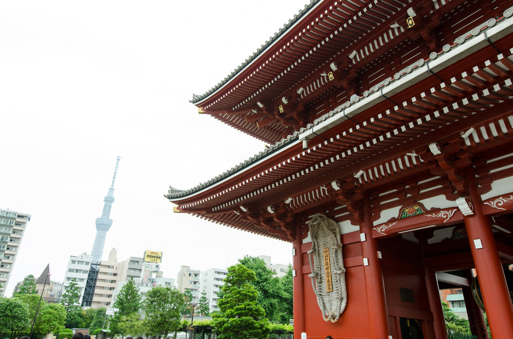 Asakusa Temple with Tokyo in the background.