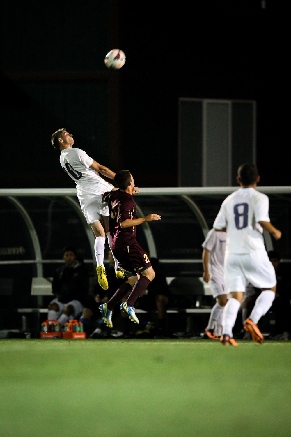 University of Washington Huskies Men's Soccer Forward Kyle Coffee Header against Seattle Pacific University