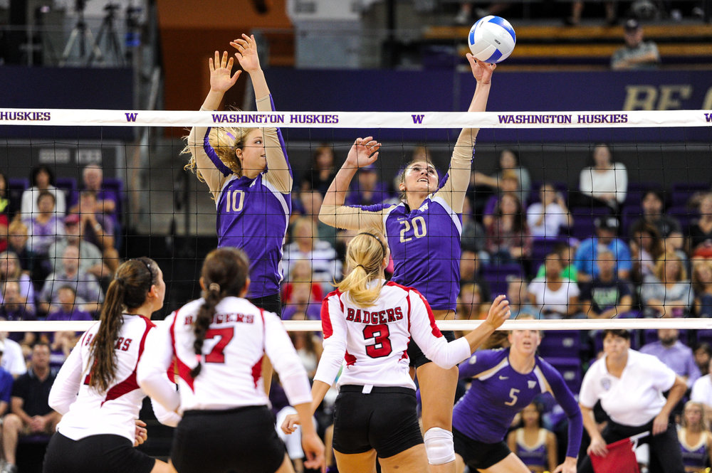 University of Washington Huskies Volleyball Outside Hitter Tia Scambray Blocks Wisconsin Badgers