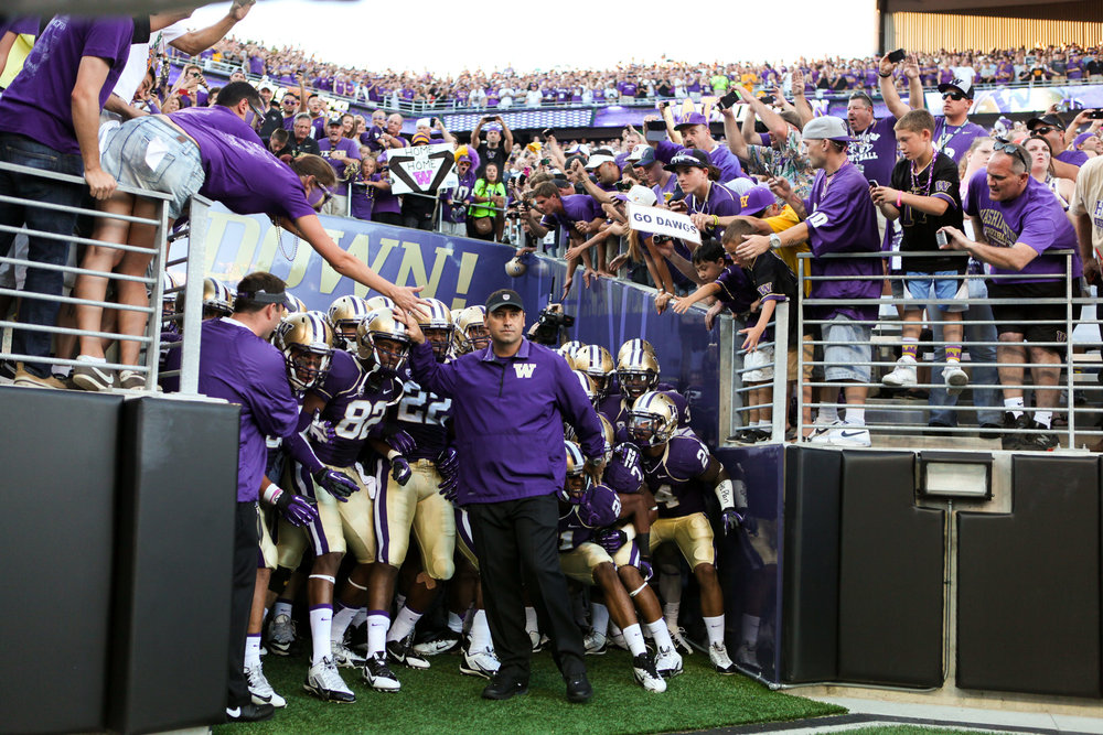University of Washington Huskies Football Head Coach Steve Sarkisian Pregame Run Out