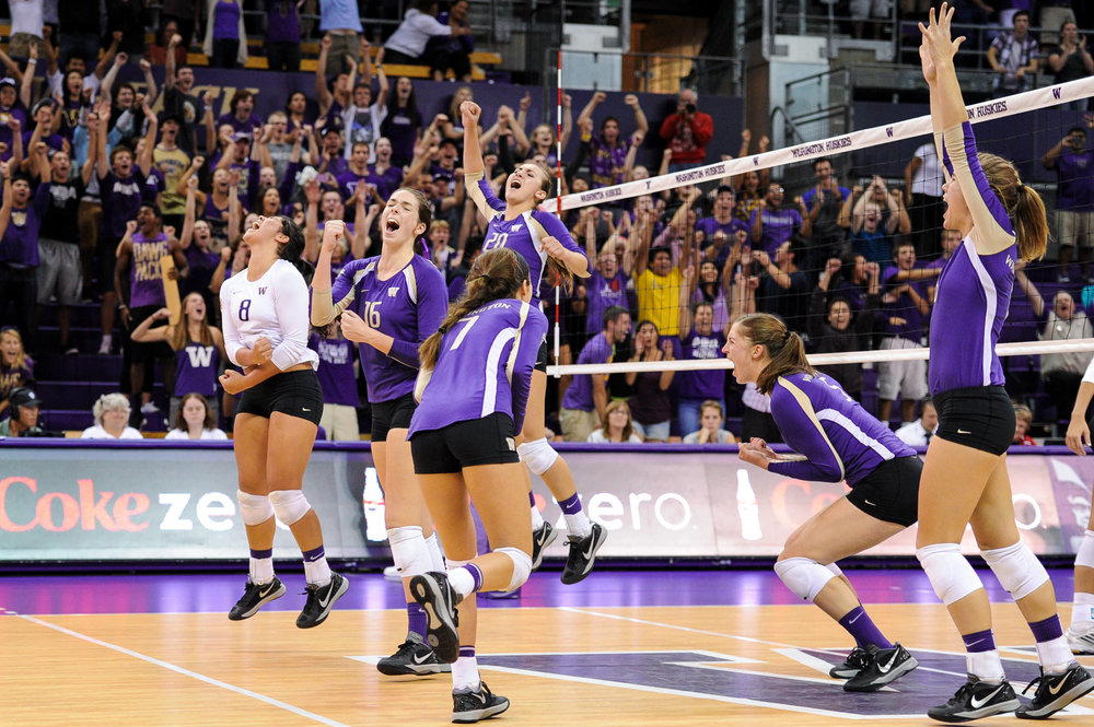 University of Washington Huskies Volleyball Celebration