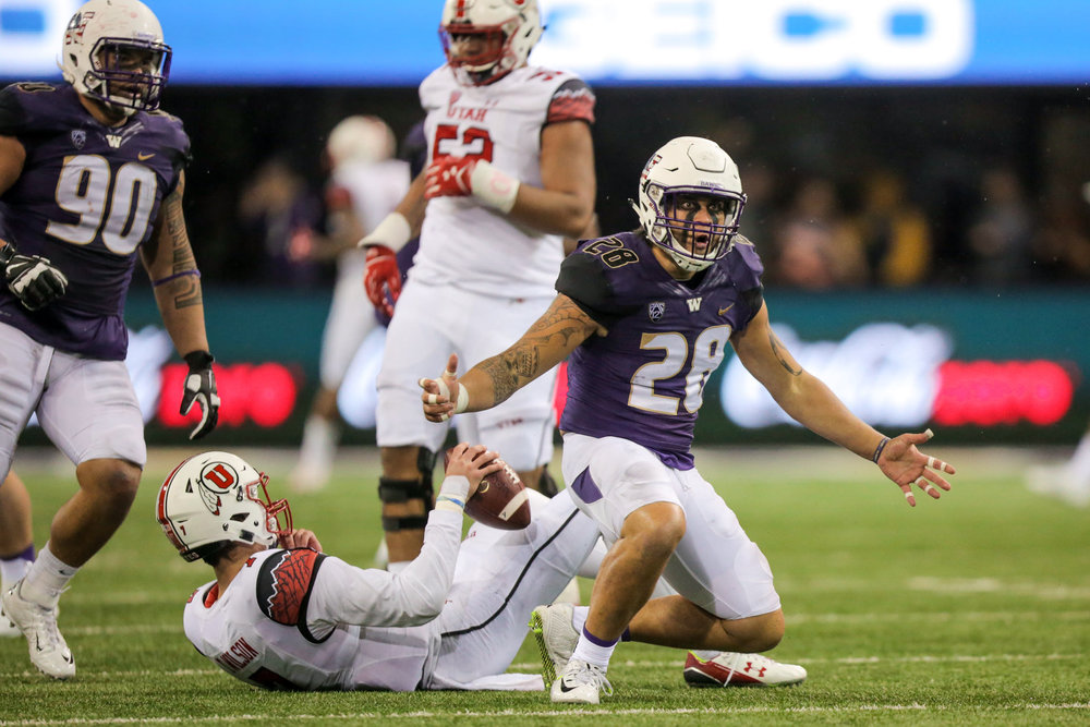 University of Washington Huskies Football Linebacker Psalm Wooching Intimates and Celebrates after sacking University of Utah Quarterback
