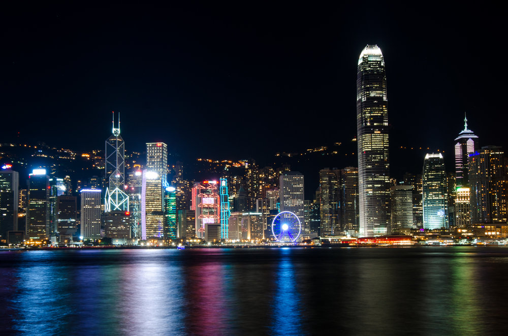 Colorful Hong Kong Skyline at Night in China
