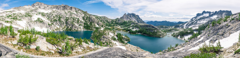 View of Prusik Peak, Perfection Lake, and Inspiration Lake in the Enchantments Core Zone in North Cascades National Park Pacific Northwest Washington