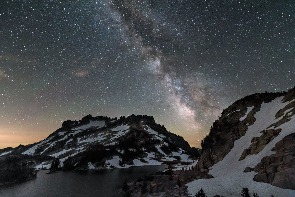 Milky Way and Stars over Reflection Lake and McClellan Peak and in the Enchantments Core Zone in  North Cascades National Park Washington Pacific Northwest