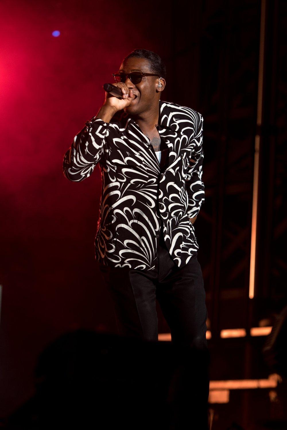 Leon Bridges singing with ODESZA headlining at Bumbershoot Music Festival at Seattle Center Washington 2017