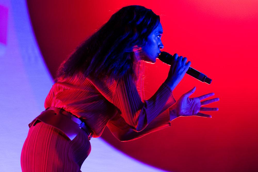 Solange singing at Bumbershoot Music Festival at Seattle Center Washington 2017