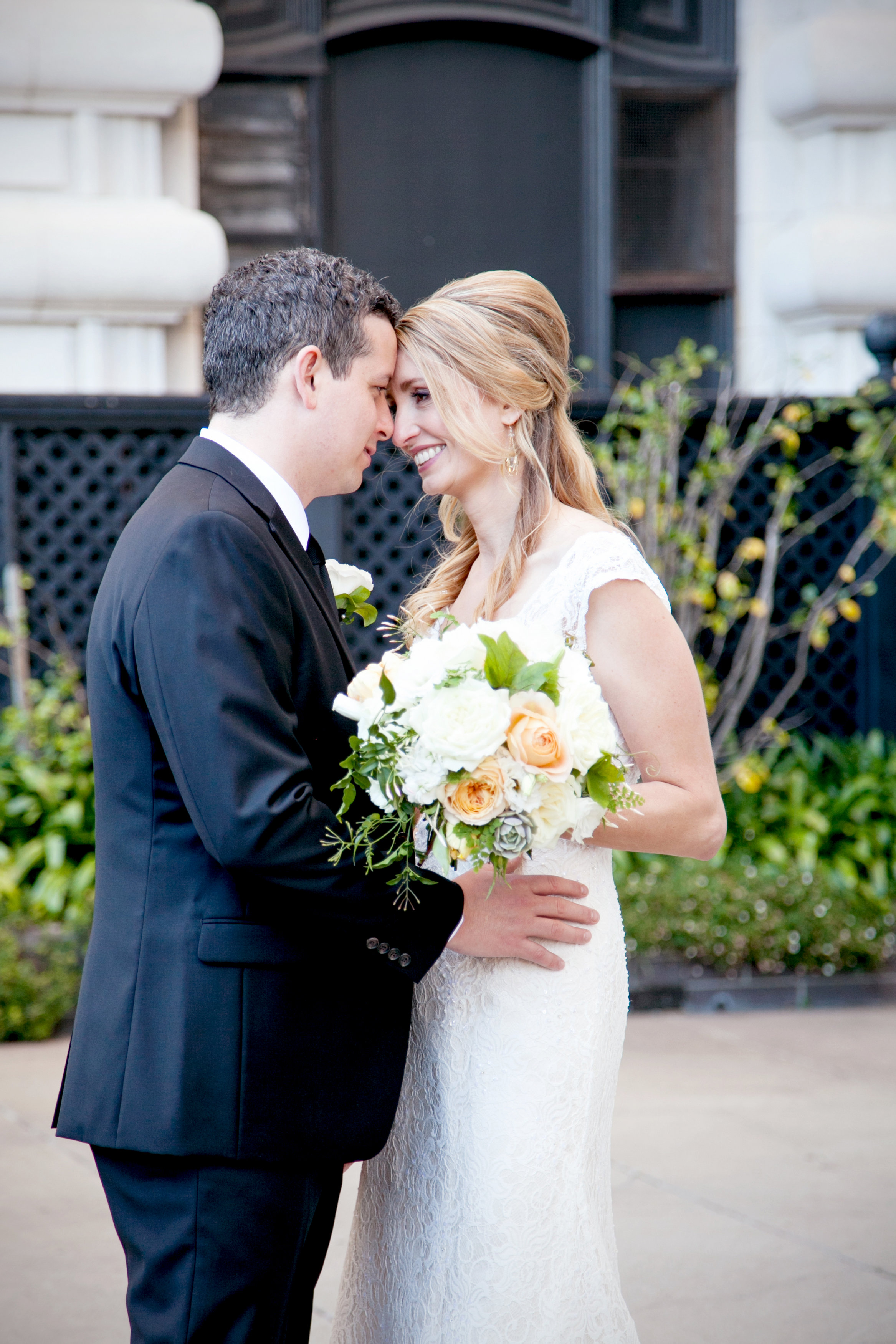 Classic Black and White Bride and Groom//Fairmont Hotel Wedding Bride and Groom San Francisco Meo Baaklini