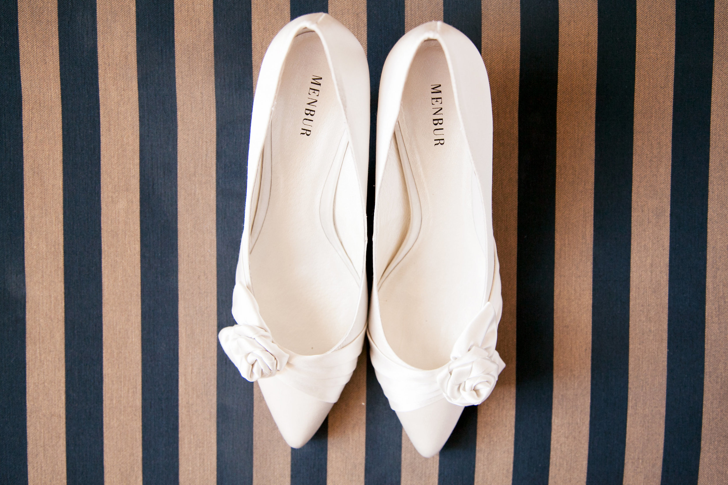 Menbur White Wedding Shoes// Mark Hopkins Wedding San Francisco Photographer