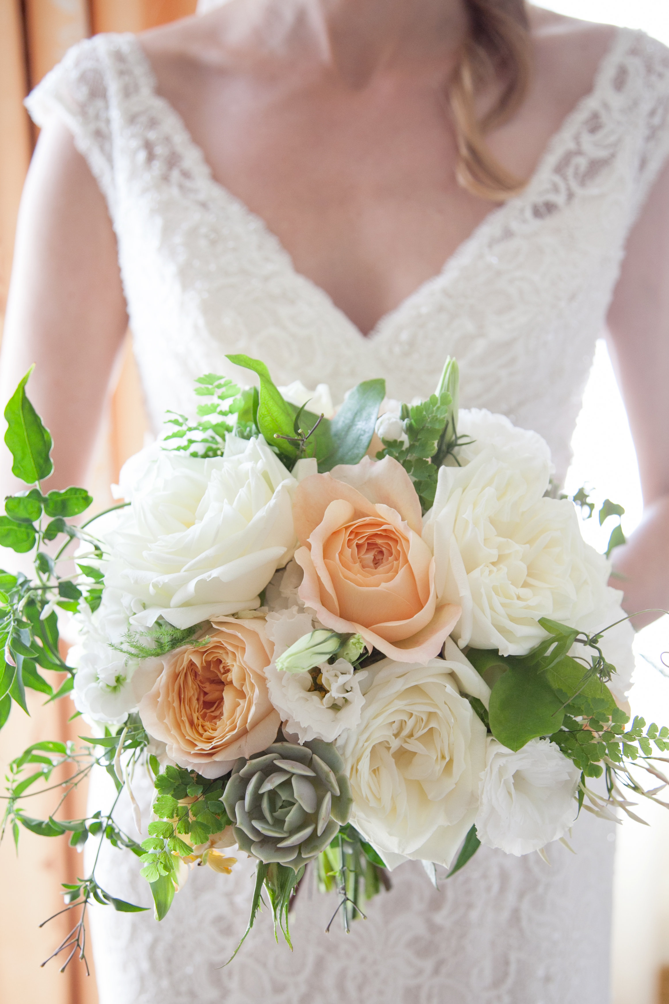 Peach, cream and succulent bridal bouquet wedding Meo Baaklini Photography