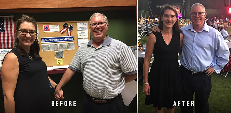 John and Ann - Left (Before CrossFit)  October 2016 Right (Ann 1yr. CF+ John 3mo. CF) October 2017