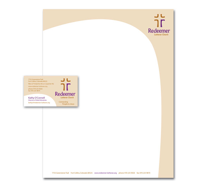 Business card and letterhead design for Redeemer Lutheran Church