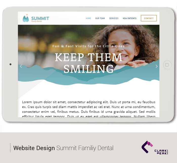 Website design for Summit Family Dental by Clark Peak Design