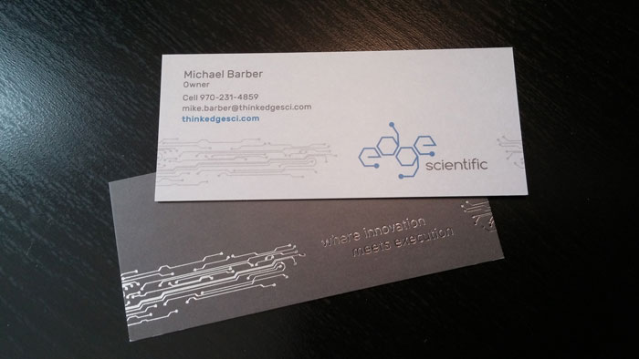 Business card design for Edge Scientific