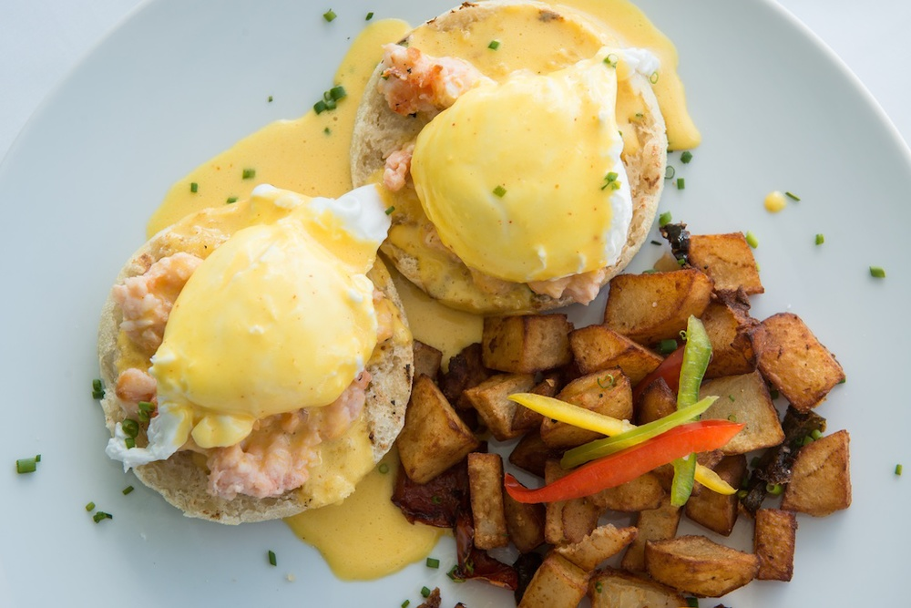 Bagatelle brunch, lobster Benedict with house potatoes
