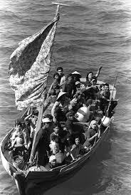 Indochinese refugees fleeing their homeland by boat during the Vietnam War. Thousands of them found safety in Australia after Frank Bauman convinced the government to overturn a ban on non-white immigration.