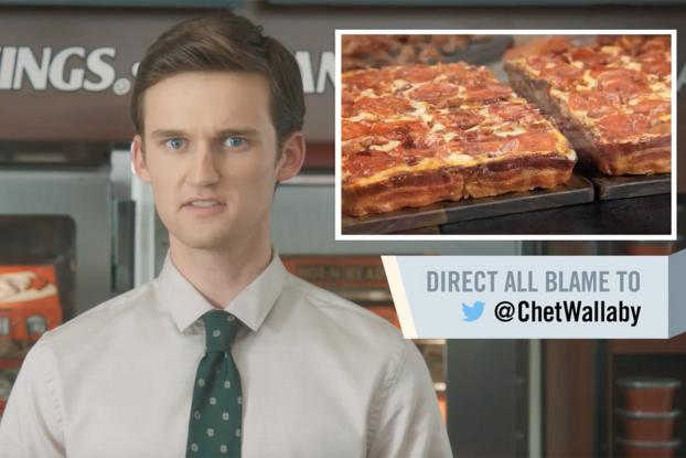 Little Caesars spoofs corporate scapegoating by having intern Chet Wallaby take the rap for dropping the chain's popular back-wrapped deep dish pizza from its menu.