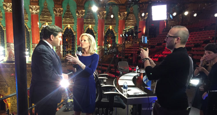 A news crew live streamed interviews at a GOP presidential debate on Facebook Live, a tool that is making live streaming of breaking events an attractive option with low production costs and high viewer and interactive upside.