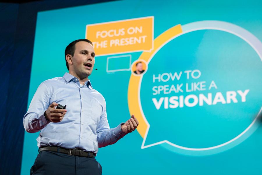 Noah Zandan speaking in February in Vancouver on how to speak like a visionary.