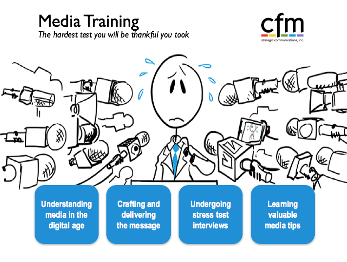 CFM offers customized media training workshops that put you in the hot seat and leave you better prepared to work with reporters.