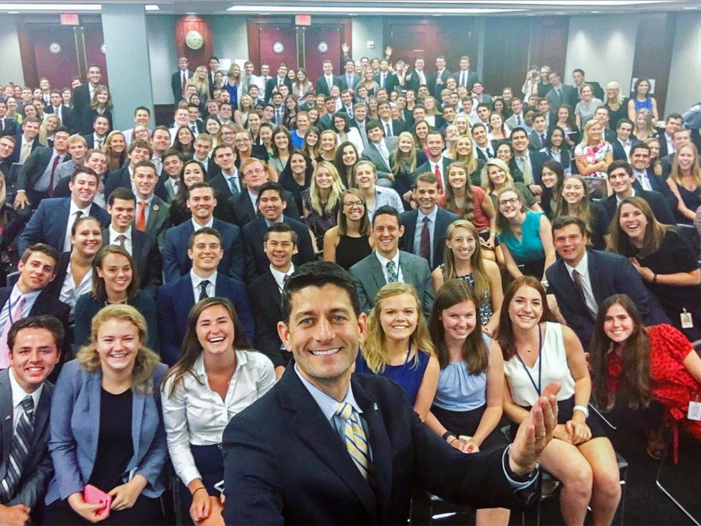 Speaker Paul Ryan's happy selfie showing him with more than 100 white GOP interns turned into a self-inflicted wound online as one commentator said he had to don sunglasses to look at the photo. (Photo Credit: Speaker Ryan's Instagram Account)