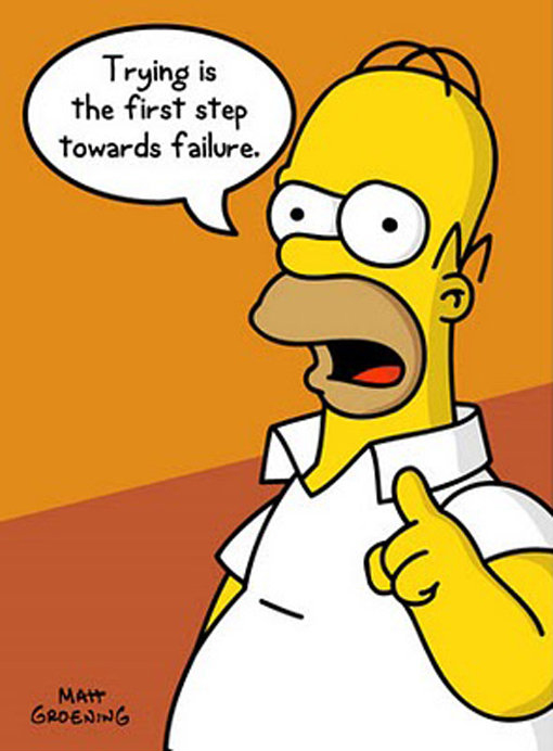 You can't fail unless you try. You can't succeed if you don't fail. Take it from Homer Simpson who should know.