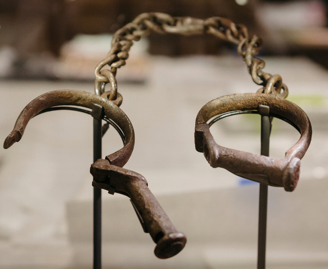 This pair of shackles is one of many relics of slavery, America's darkest chapter, on display inside the museum.