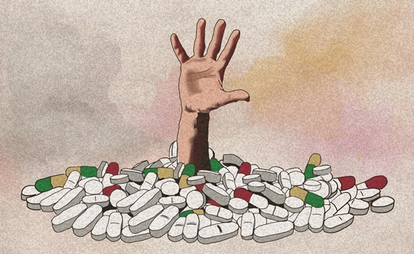 Researchers at Penn State University found a correlation between communities hard hit by the opioid epidemic and support for Donald Trump who promised radical change.   -  Illustration by  Javier Maria Trigo