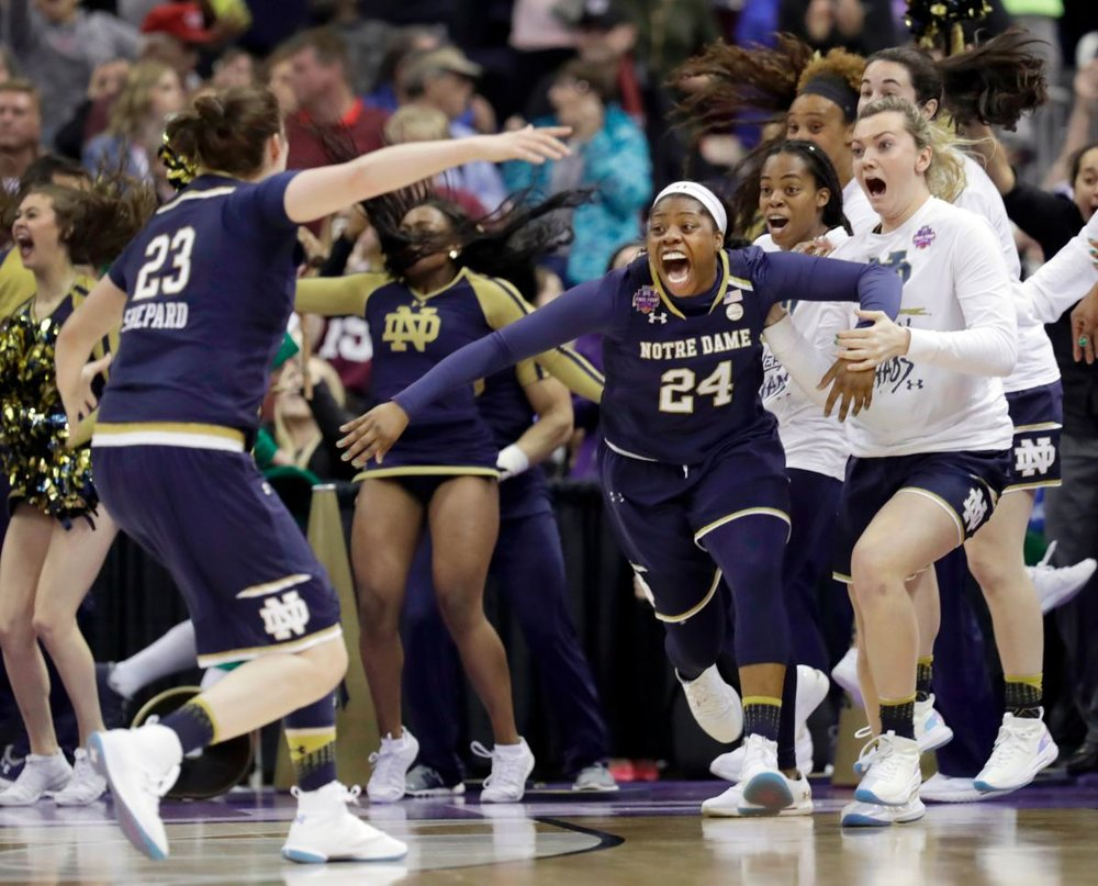 Notre Dame's Arike Ogunbowale knocked down two last-second, game-winning shots in the NCAA Women's Basketball Final Four over the weekend and told reporters afterward she practices those shots everyday.  Speakers and presenters who want to make a hit should take note. (Photo Credit: Tony Dejak/AP)