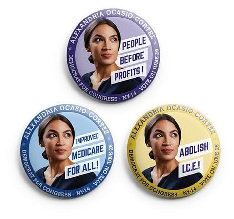 Strong personal branding in the form of a compelling photograph of the candidate with a key message added a political point of view to what are often superfluous campaign buttons.