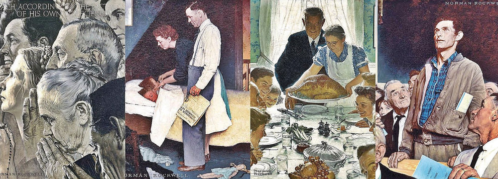 The inspirational words of President Roosevelt in 1941 about core American values fell largely on deaf ears as the nation was still trying to climb out of a deep recession. Two years later, America's painter Norman Rockwell made Roosevelt's words something people could remember. [Courtesy Norman Rockwell Museum Collections]