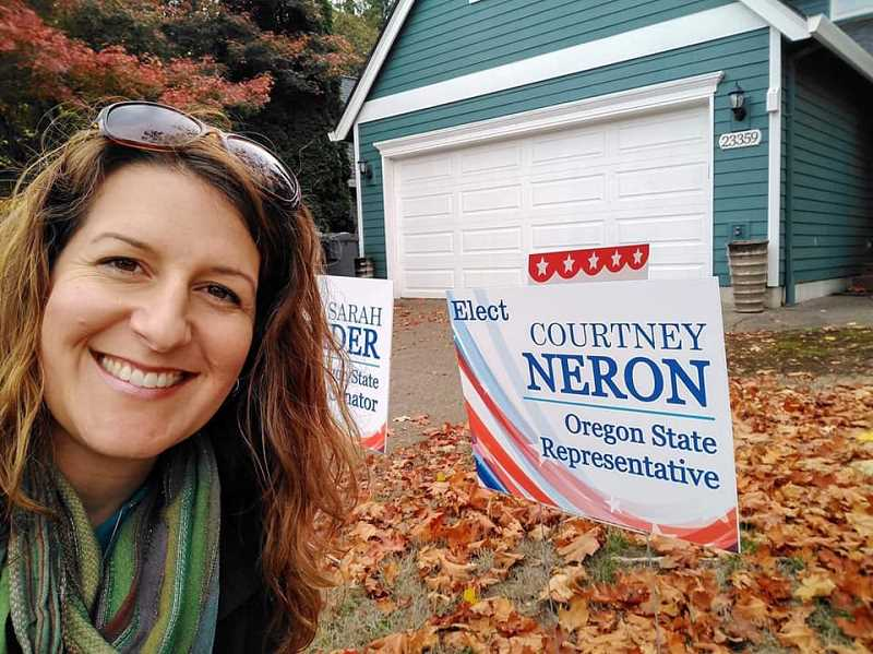 Former high school Spanish and French teacher Courtney Neron was pressed into service to run as the Democratic candidate opposing a first-term Republican House member. With strong Democratic support based on her activism as a volunteer, Neron rode Oregon's blue wave to victory and will represent House District 26 in the 2019 Oregon legislature. [Photo Credit: Corey Buchanan/Wilsonville Spokesman]