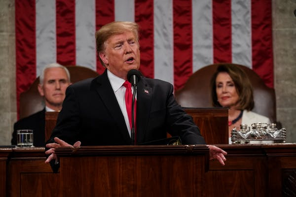President Trump delivered his State of the Union speech with Democratic House Speaker Nancy Pelosi peering over his shoulder. The speech offered a few olive branches to Democrats, but had the feel of a Trump campaign rally with applause and chants, making it seem like the official start of the 2020 presidential campaign.