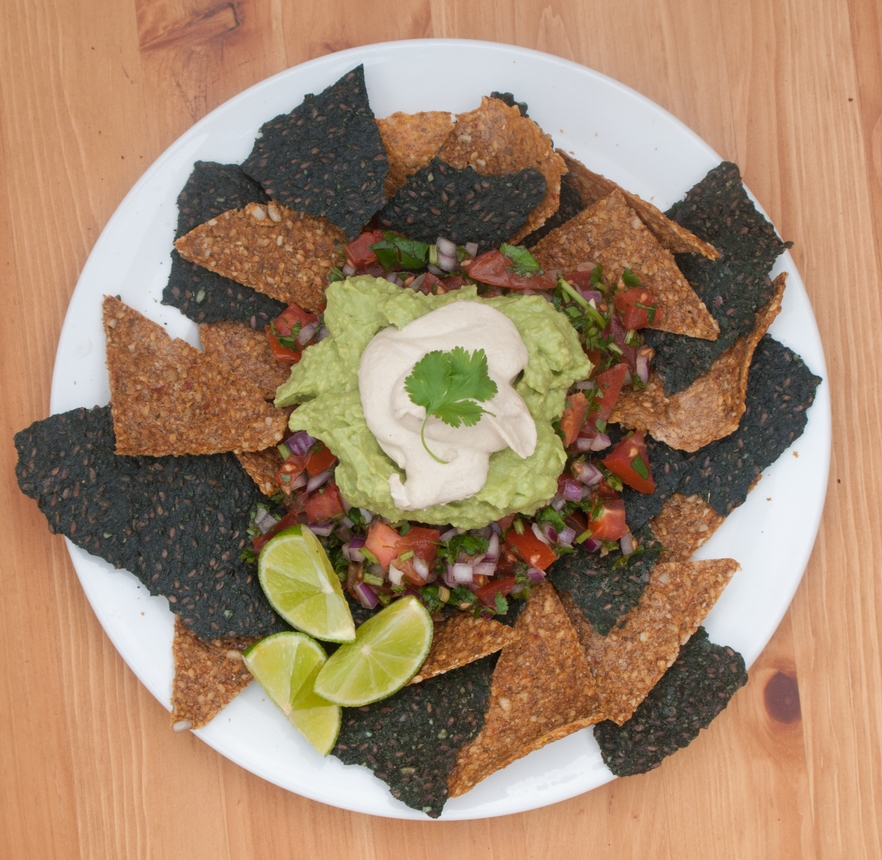 Gluten and dairy-free nachos and guacamole