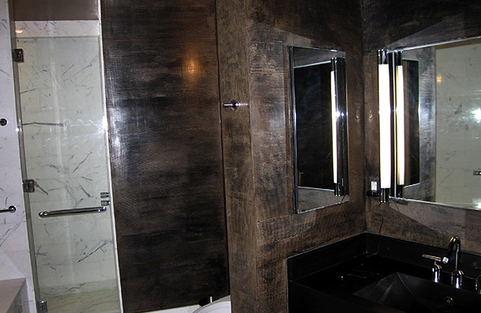 Dark Strie: Master Bathroom. Private residence in the Astor Place Building, NYC. Designer: Kristen McGinnis.