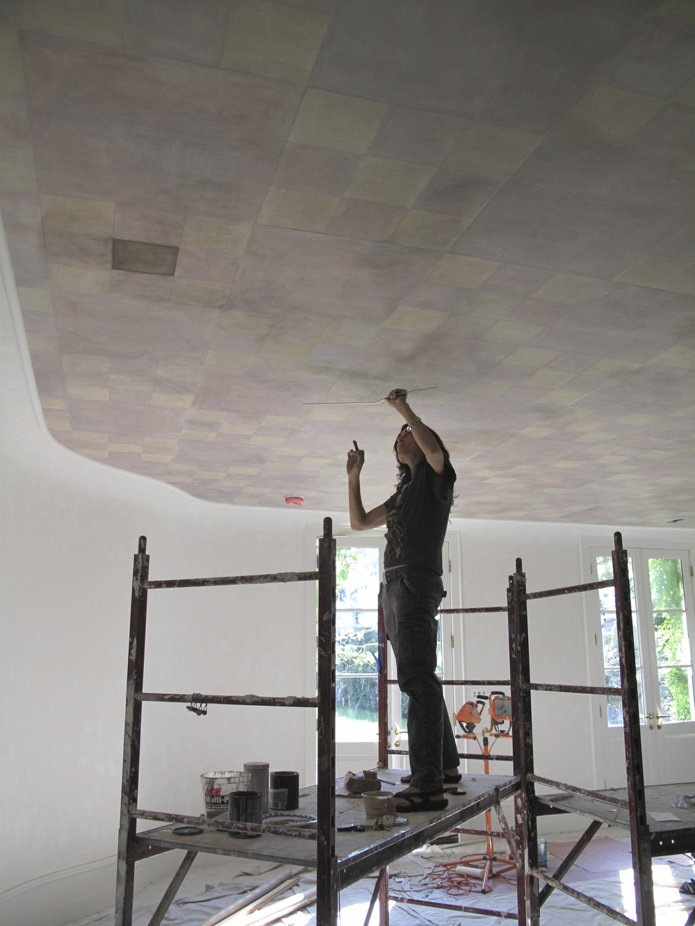 Working on Stephen's ceiling.jpg